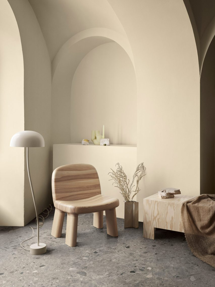 Maximus armchair by Johan Ansander for Bla Station with natural wood finish