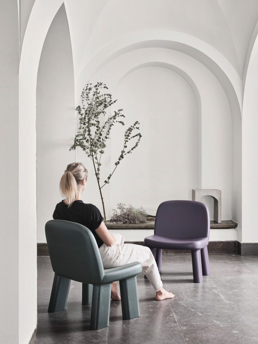 Maximus armchair by Johan Ansander for Bla Station in green and purple finishes