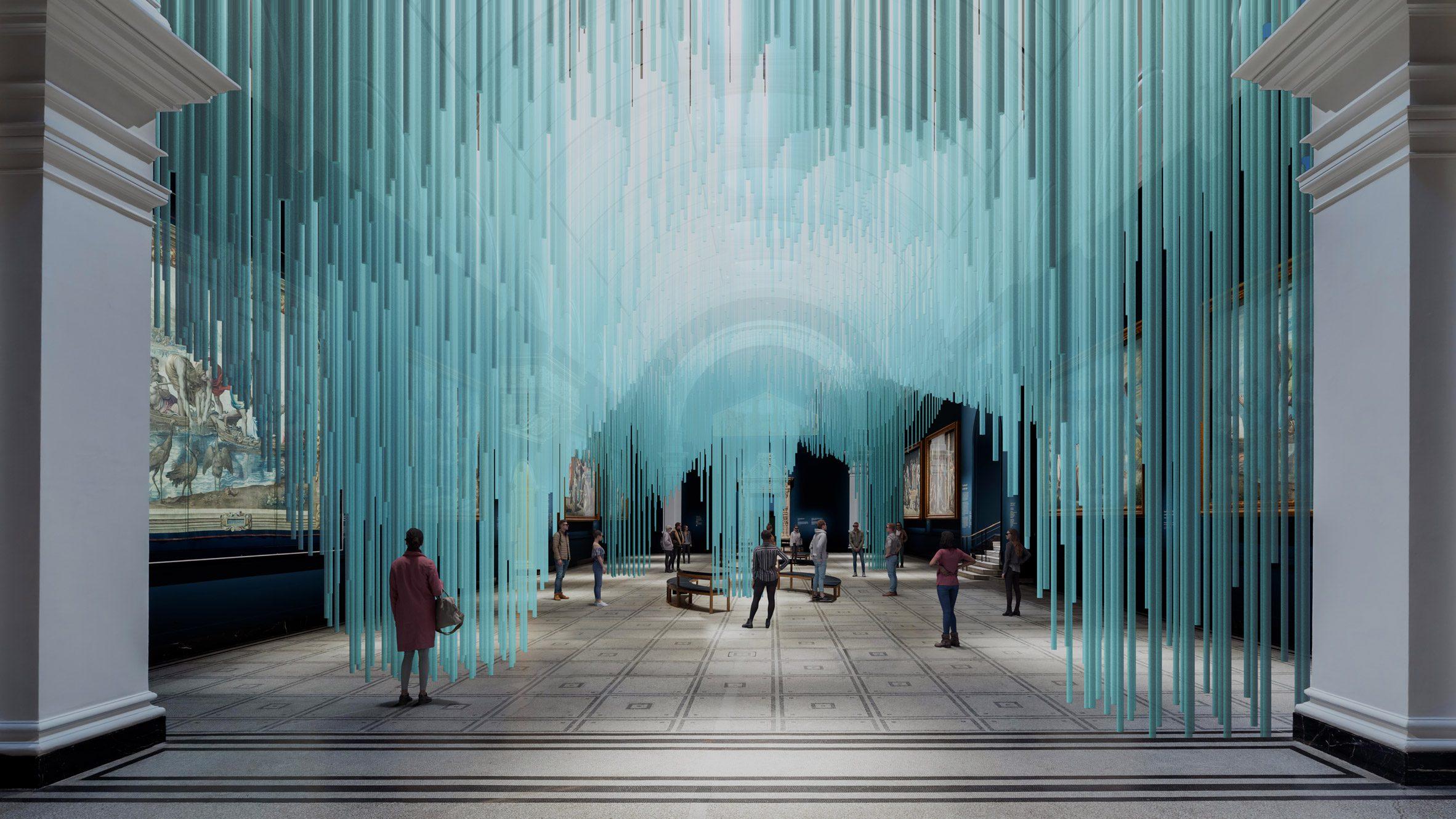 A blue light installation by Sou Fujimoto