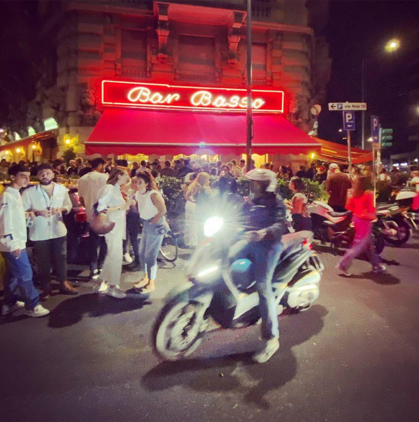 Milan design week crowds outside of Bar Basso