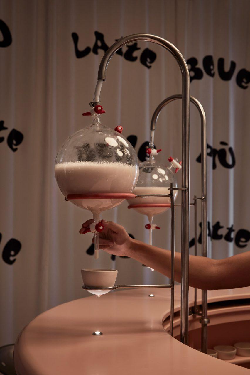 برداشتن شیر از لیوان های دایره ای در نصب توسط لولیتا گومز و بلانکا آلگارا سانچز