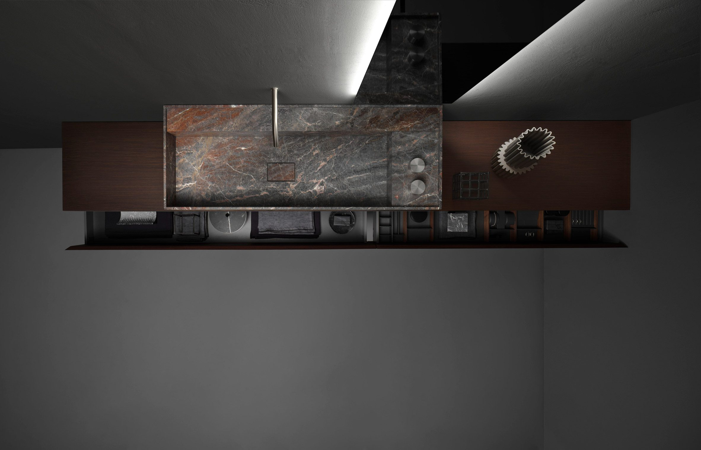 A photograph of the bathroom collection by Victor Vasilev for Falper