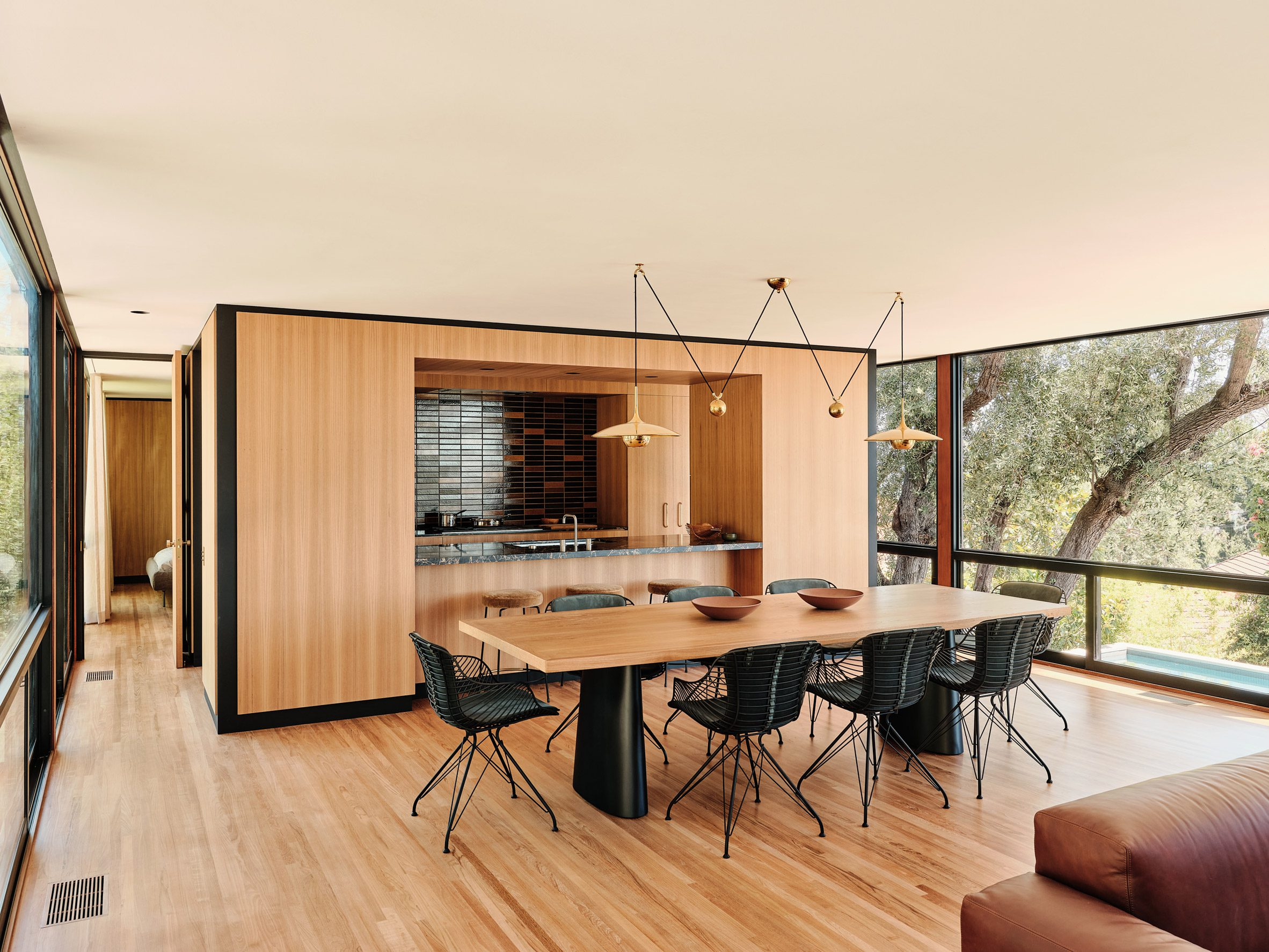 White oak in the dining area