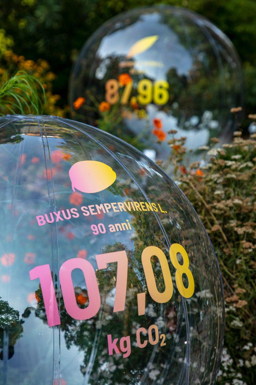 Sebuah bola transparan bertuliskan angka 107,08 kilogram CO2