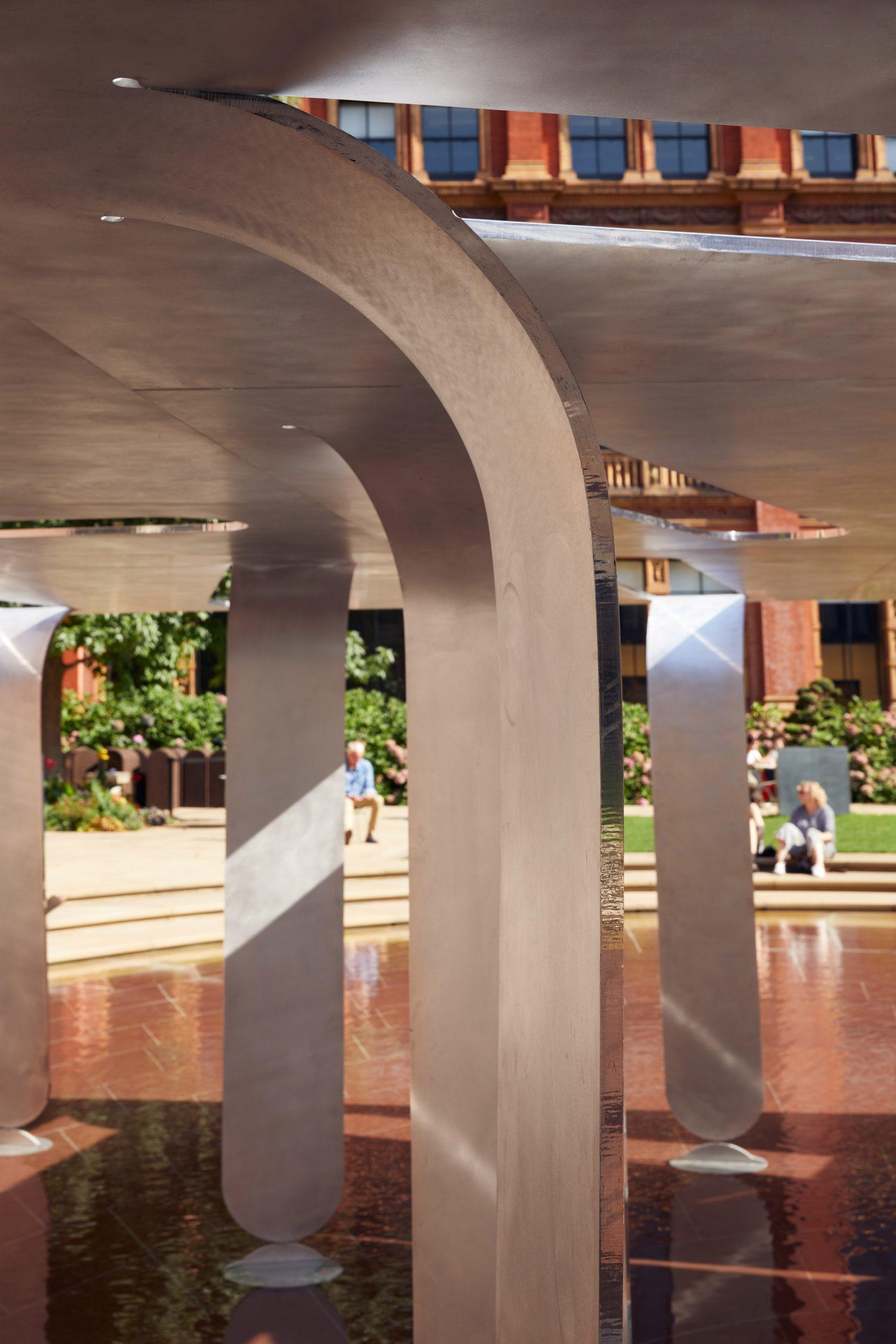Bent aluminium in Nebbia Works pavilion for LDF