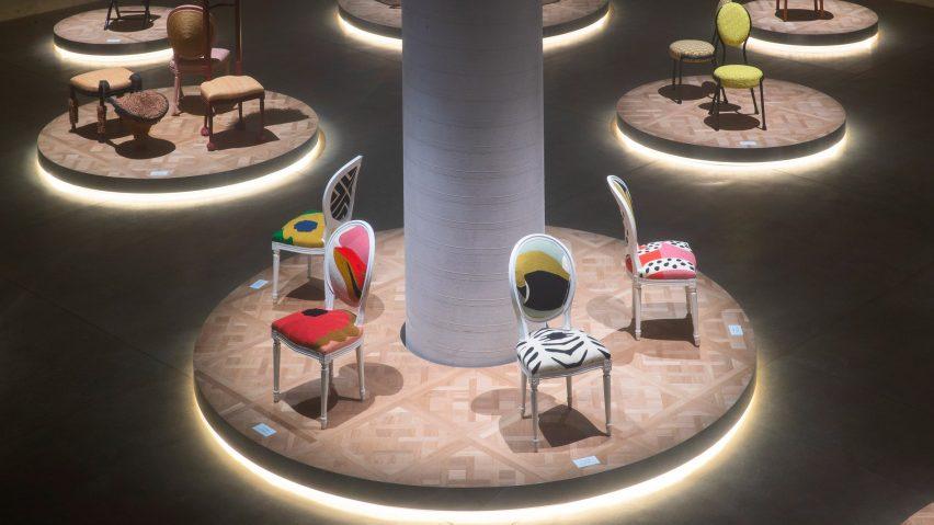 Chairs in Dior Medallion exhibition