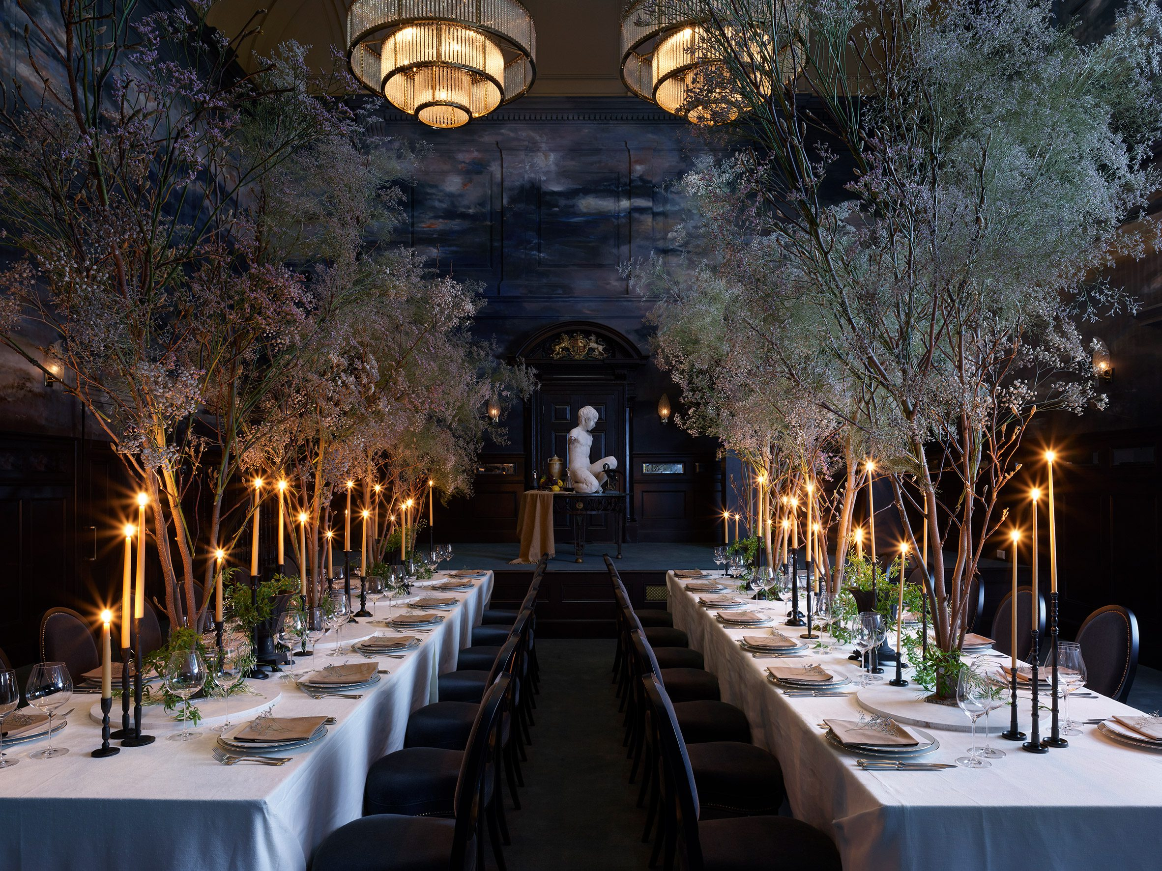 Magistrates' ballroom at NoMad London with dining tables