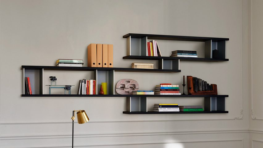 A photograph of the wall-mounted shelving system by Charlotte Perriand