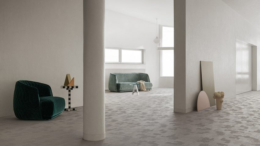 The interior of a living room with Bolon flooring