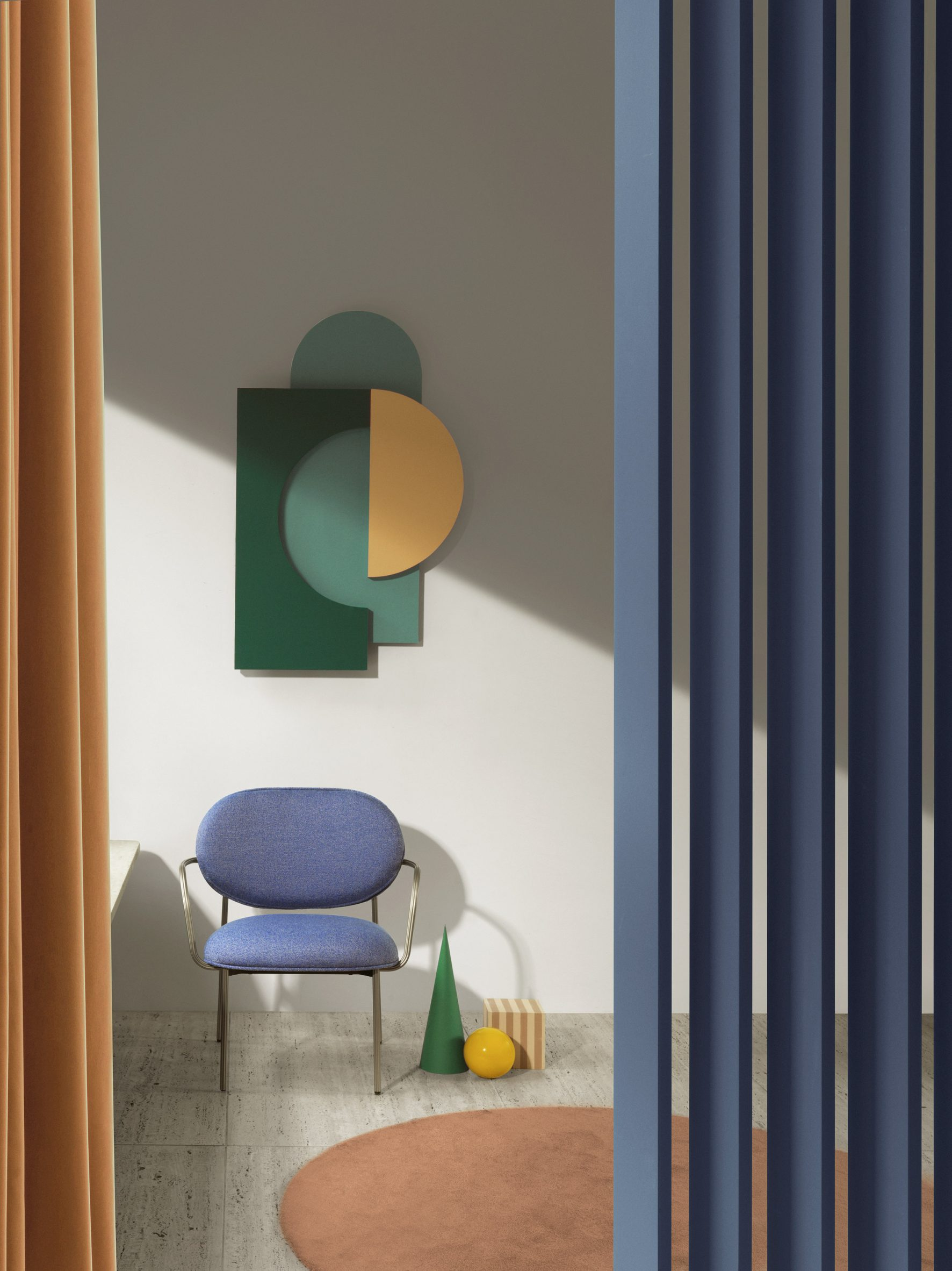 Installation featuring Blume lounge armchair by Sebastian Herkner for Pedrali in blue