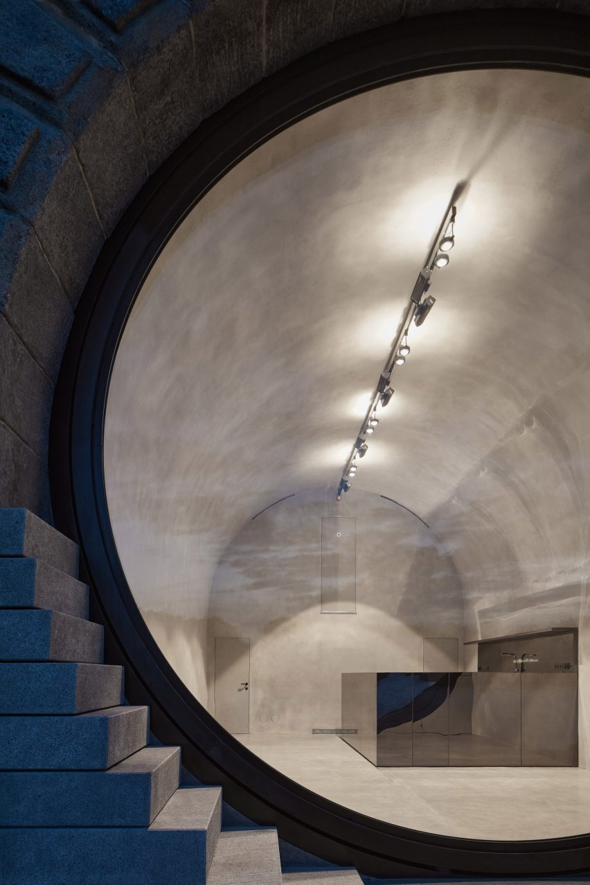 The interior of the vaults along the prague waterfront have a grey concrete finish