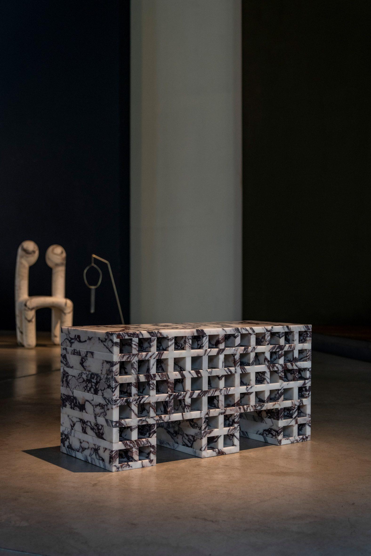 Archivia side table by Calcatta Viola at Galerie Philia exhibition
