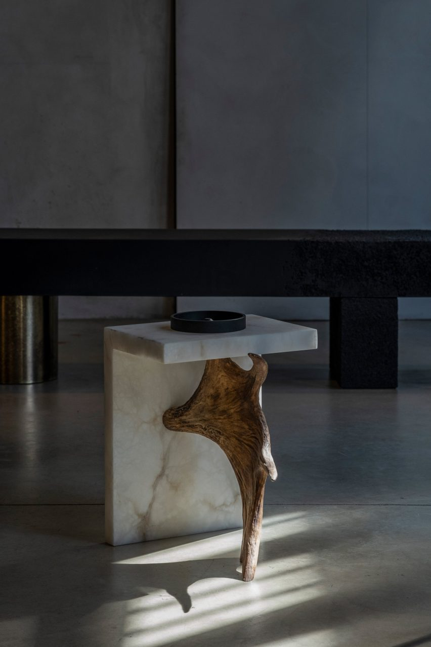 Stag T table with antler and copper ashtray by Rick Owens