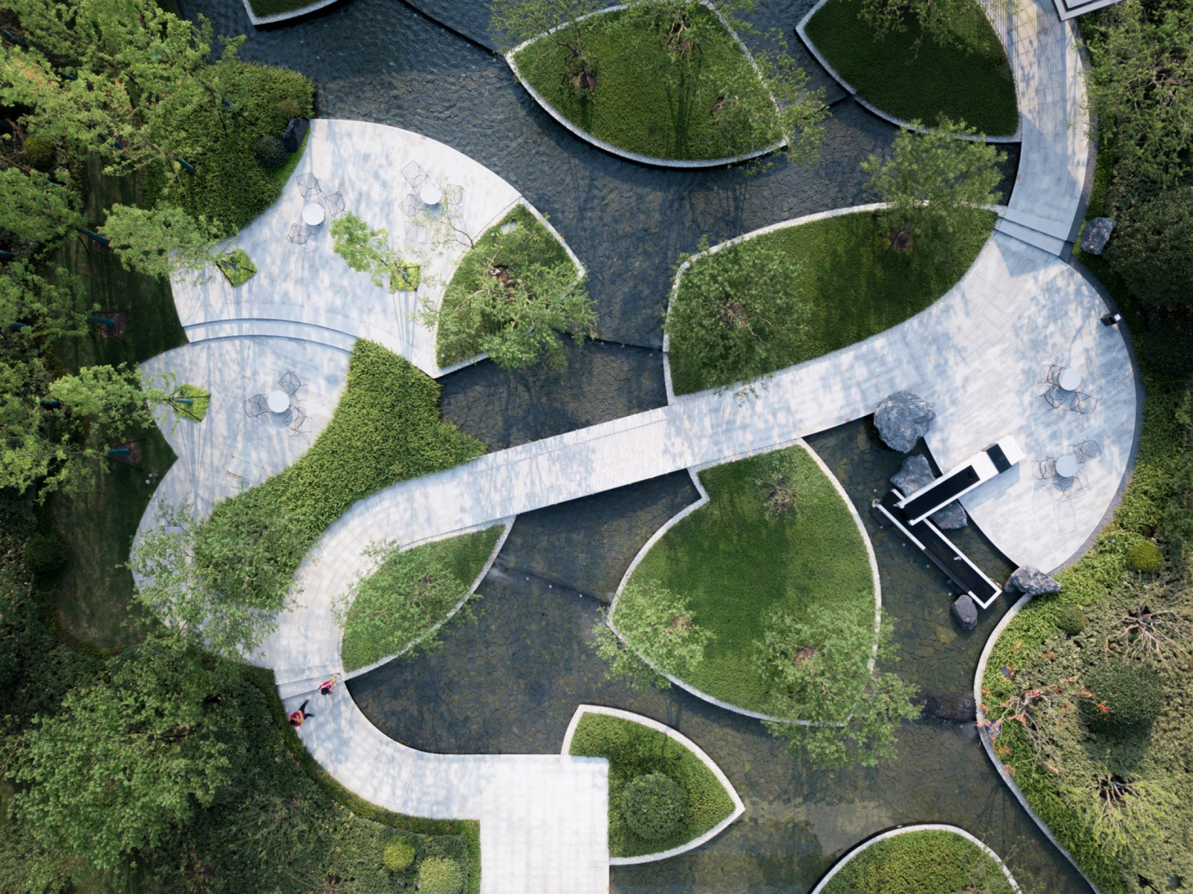 An aerial view of the gardens paths and bridges