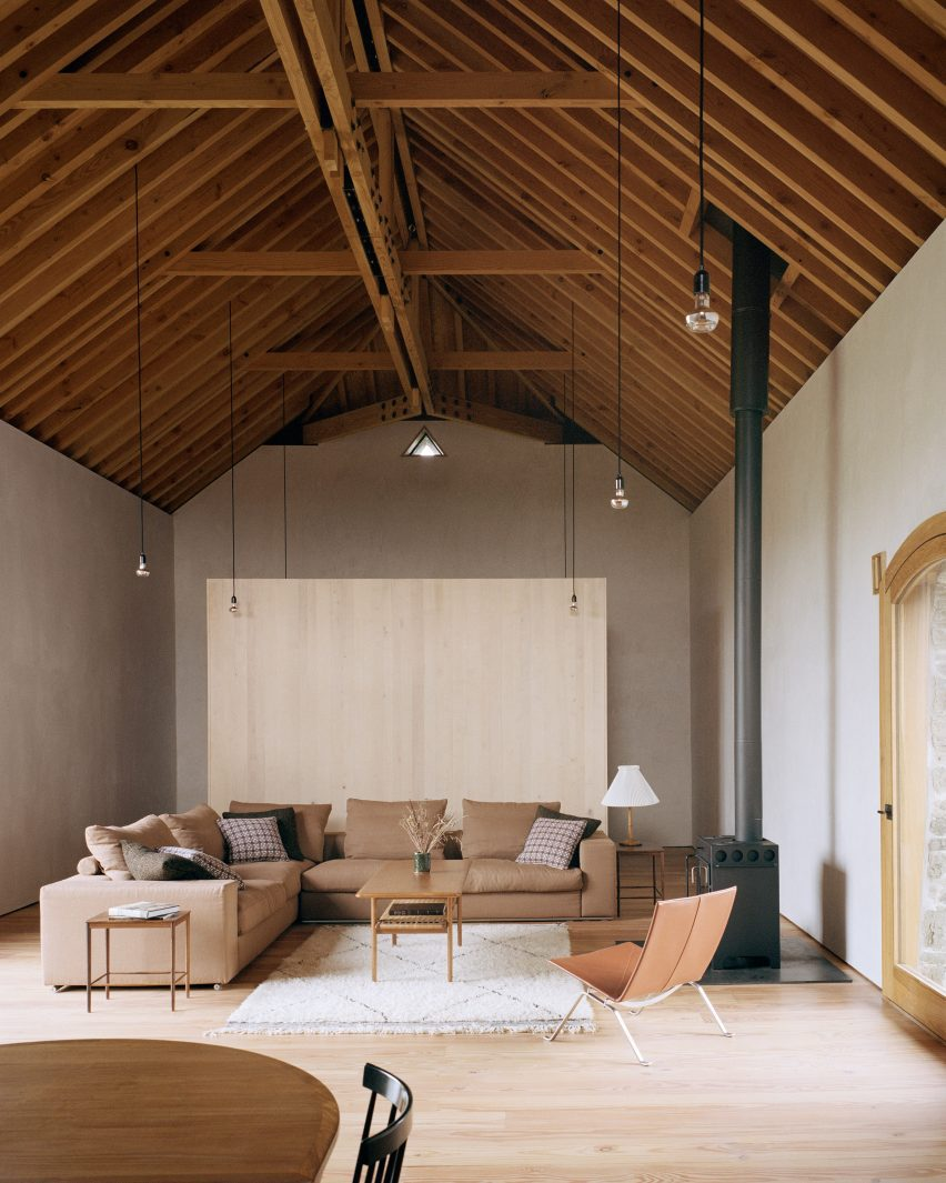 Living room within barn