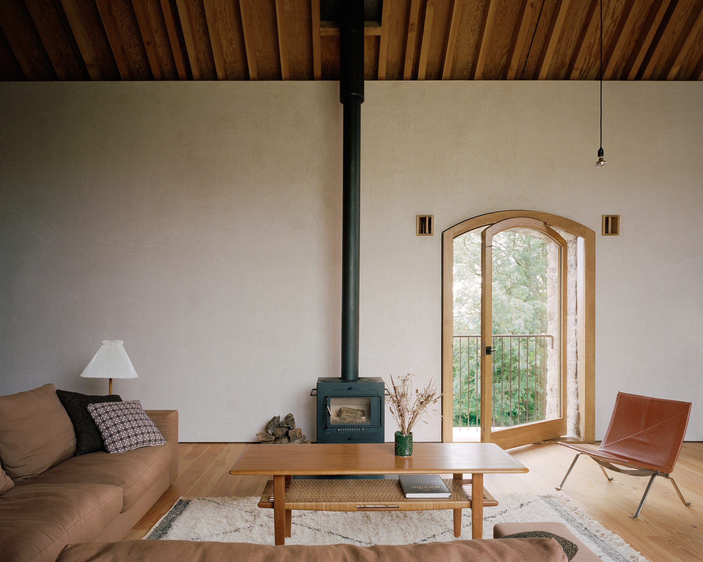 Wood-burning stove in living room