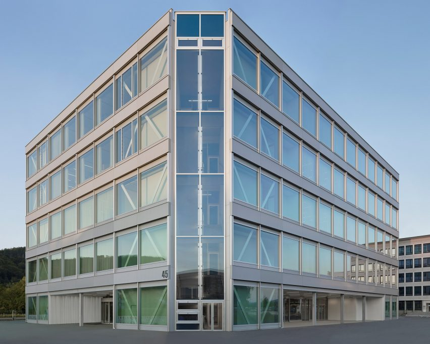 Glazed staircase corners of Roche Multifunctional Workspace Building is the third building by Christ & Gantenbein