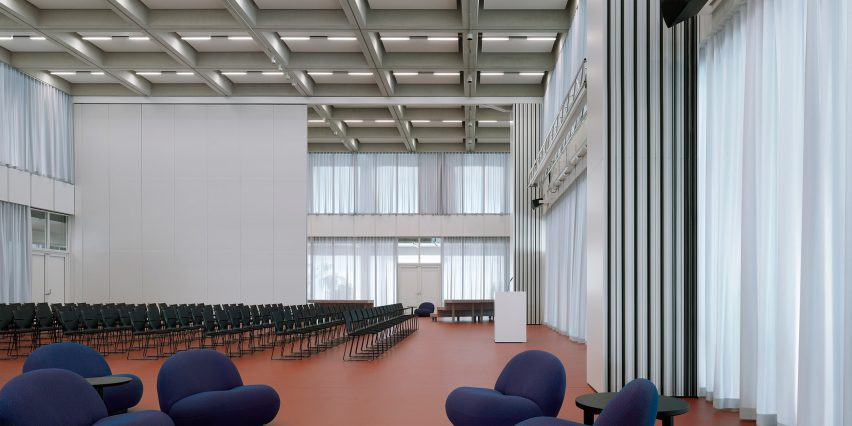 First floor auditorium of Roche Multifunctional Workspace Building is the third building by Christ & Gantenbein