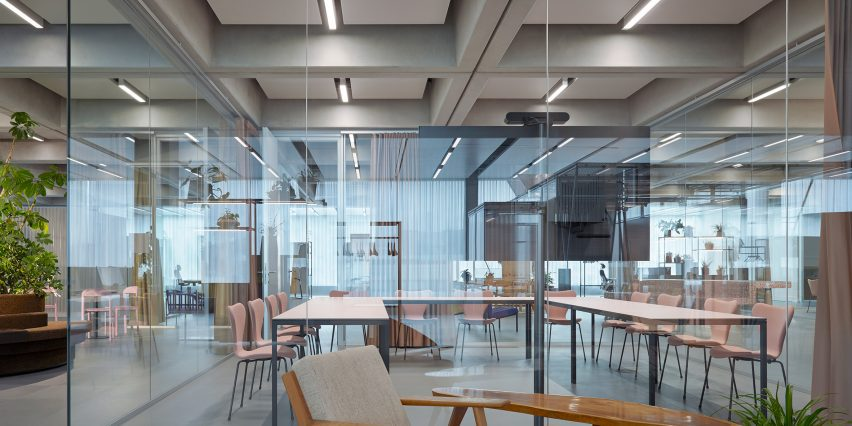 Office floors of Roche Multifunctional Workspace Building is the third building by Christ & Gantenbein