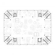 Fourth floor plan of Roche Multifunctional Workspace Building is the third building by Christ & Gantenbein