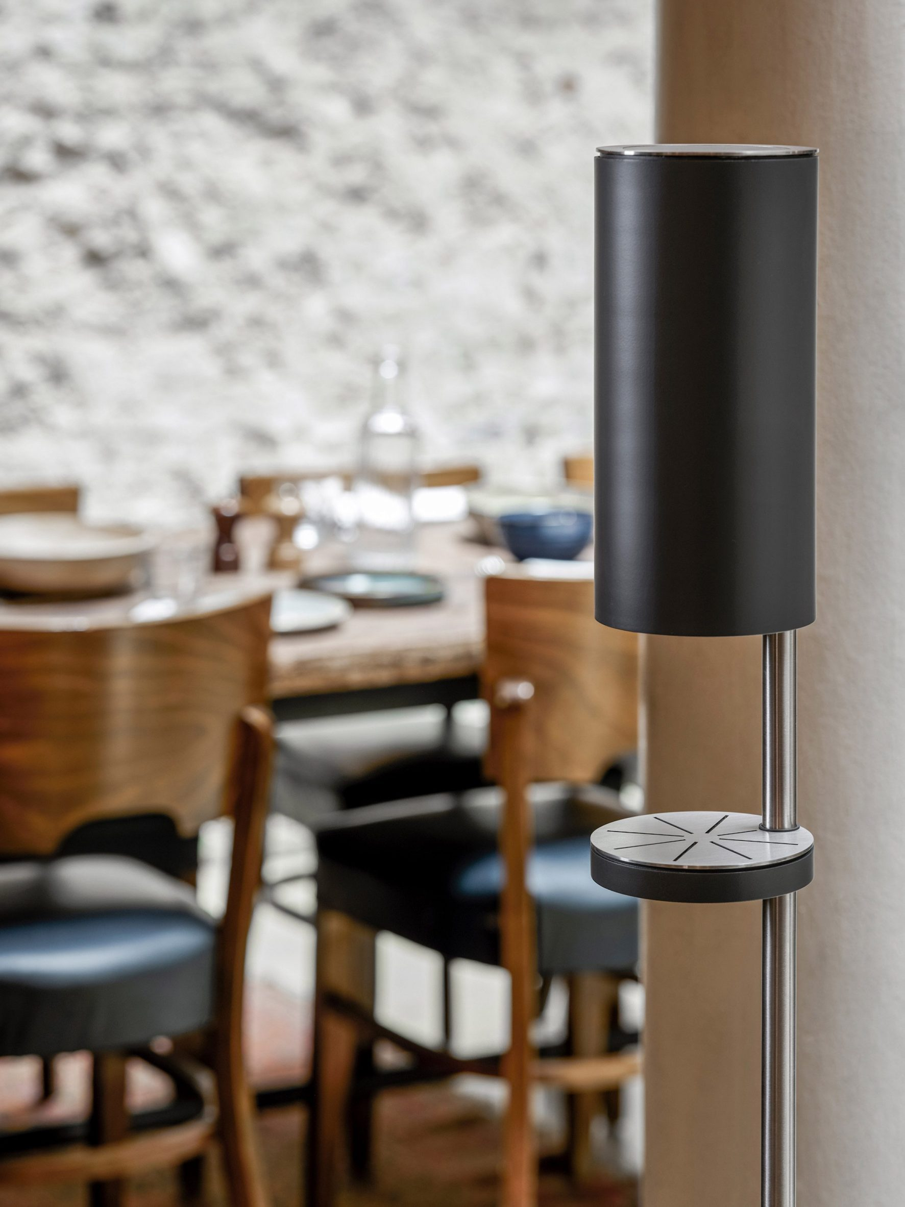 A photograph of the RS11 freestanding hand sanitiser dispenser by Link Arkitecktur for Vola