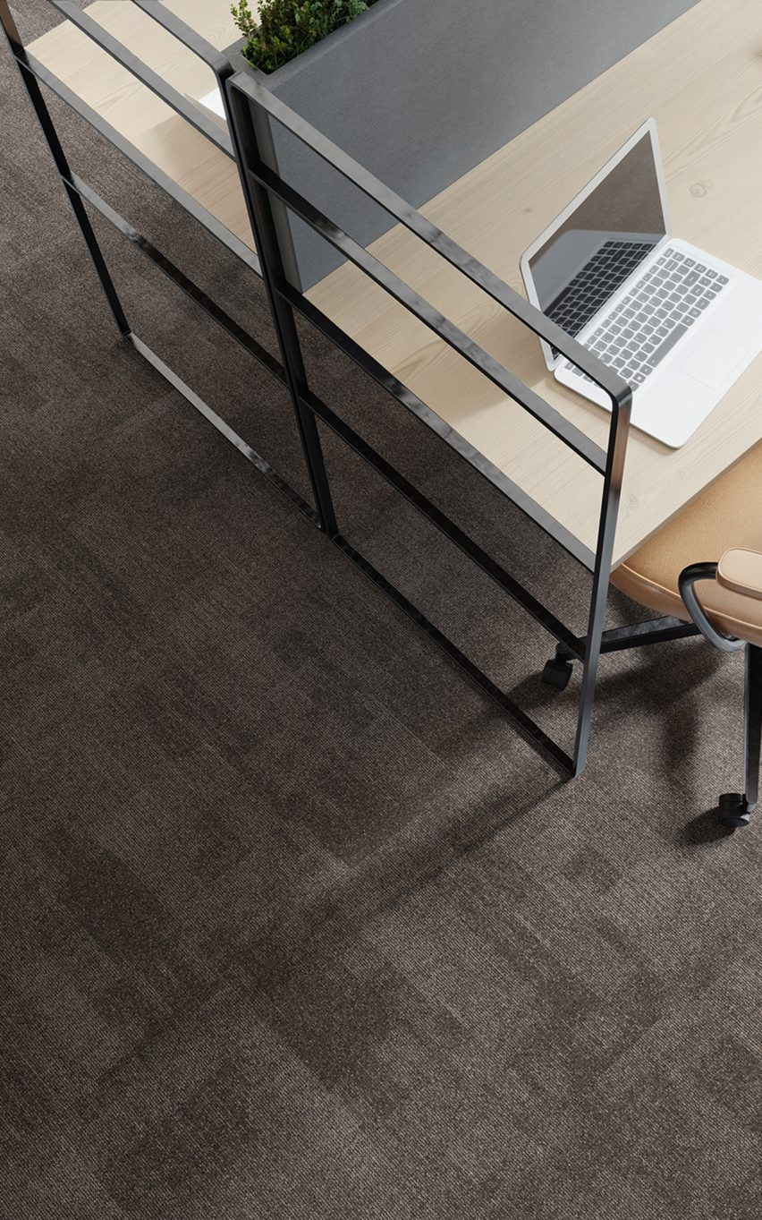 A photograph of the grey and brown carpet tiles