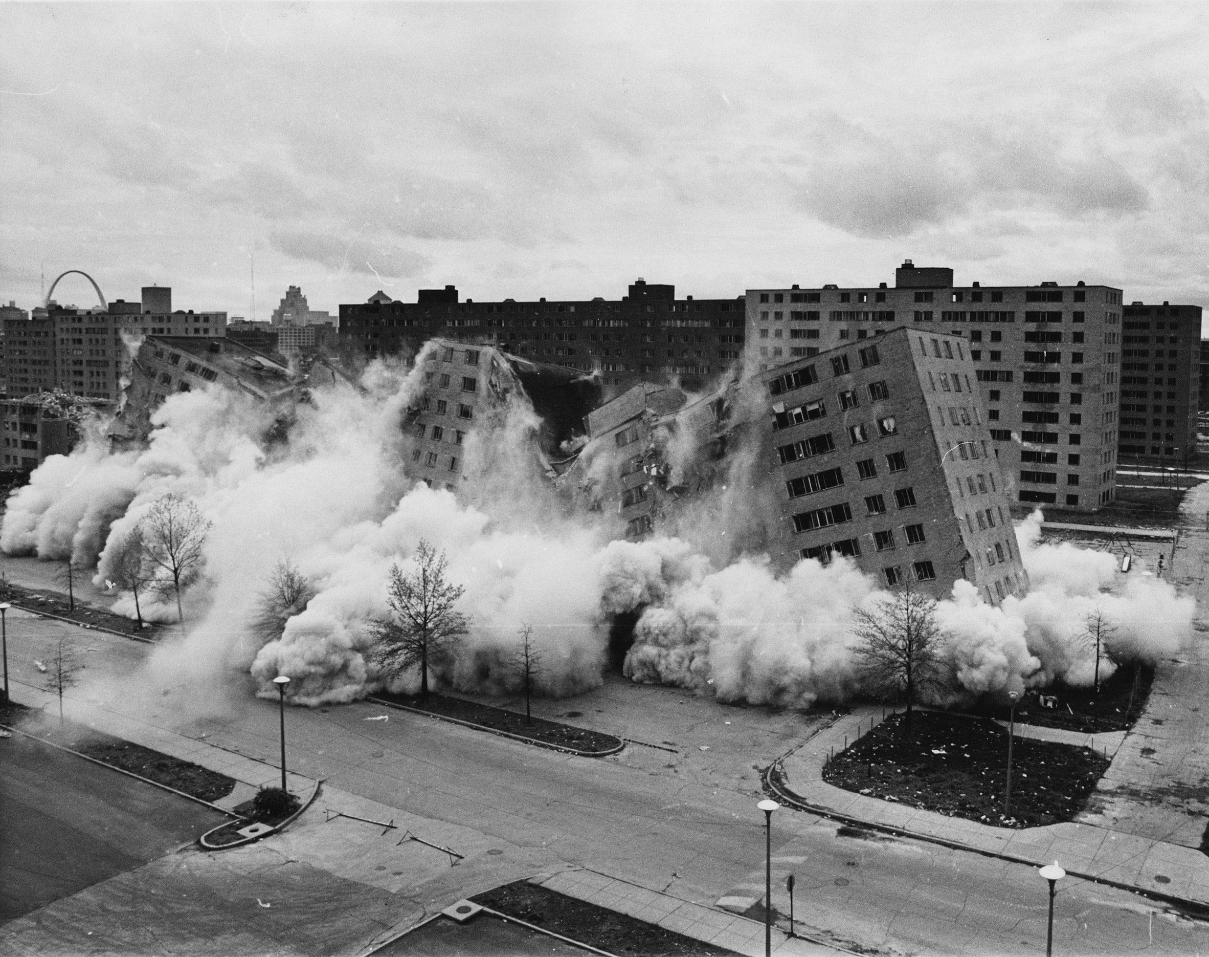 The demolition of Pruitt-Igoe in Missouri