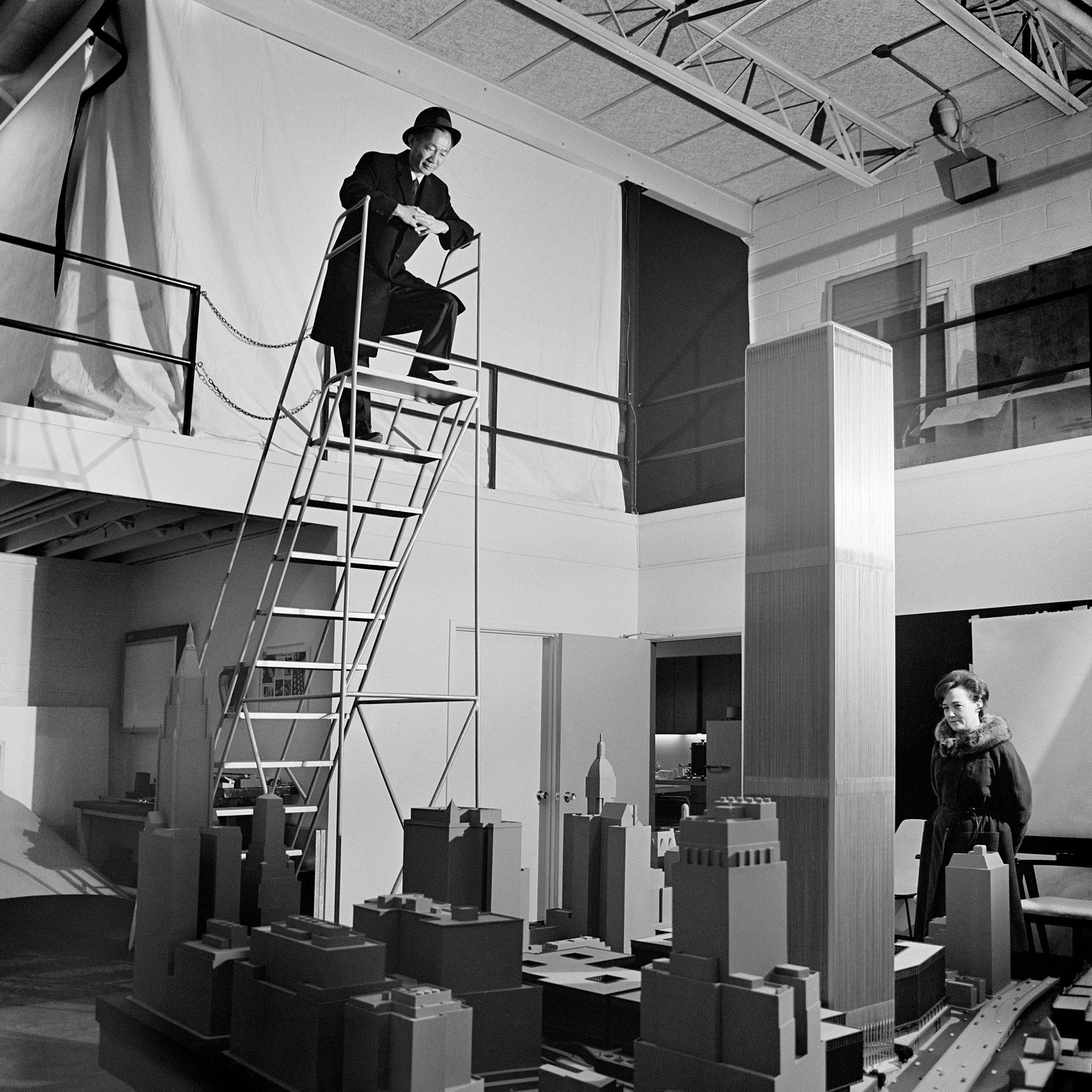 Minoru Yamasaki overlooking his model of World Trade Center