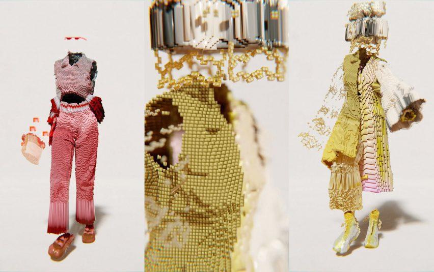 трио изображений, показывающих золотой и красный образ Санта Купчи