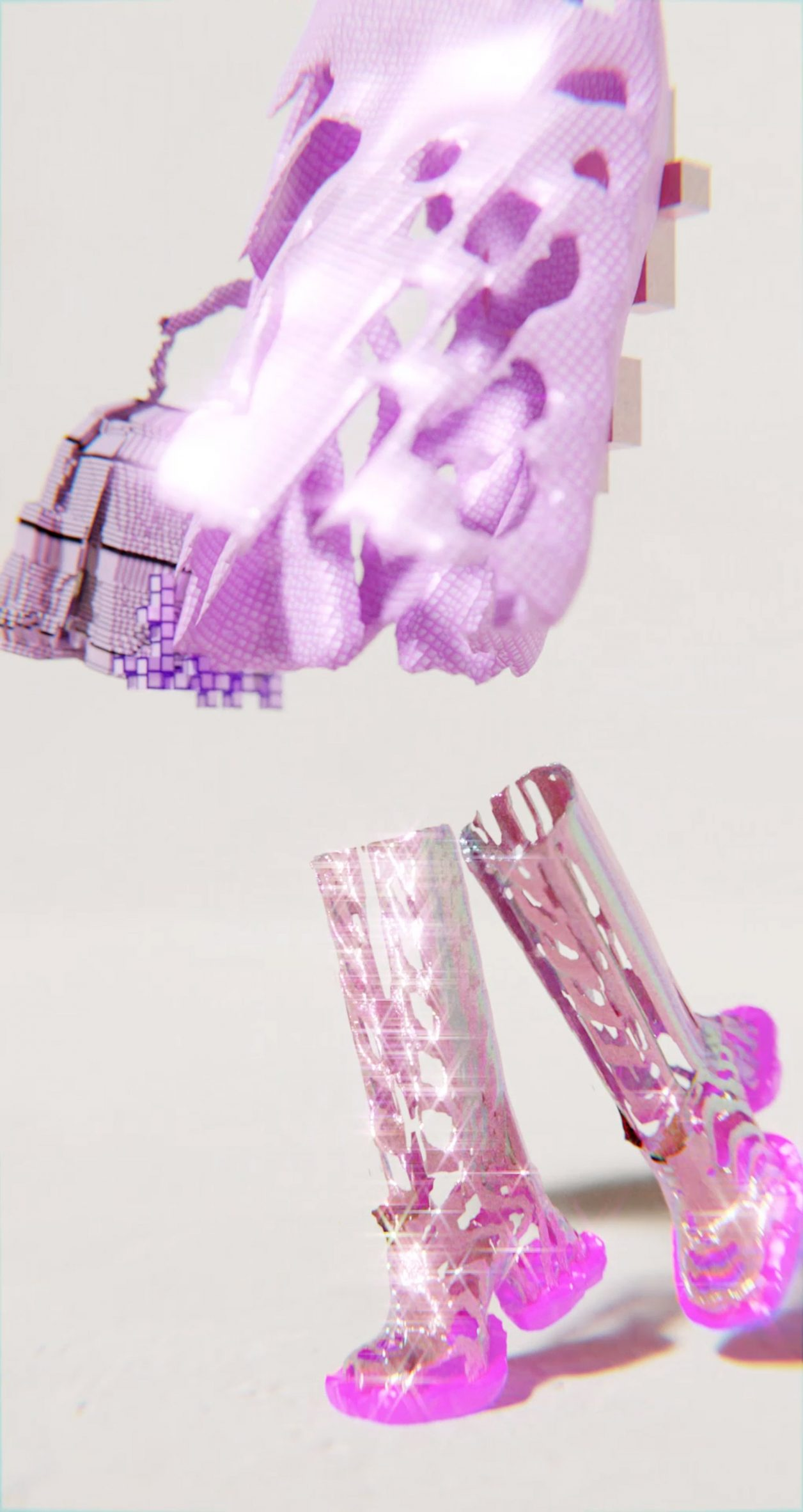 Detail image of tall pink boots in the Decrypted Garments collection