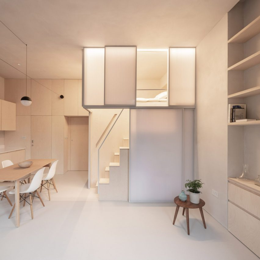 The sleeping area of Shoji Apartment