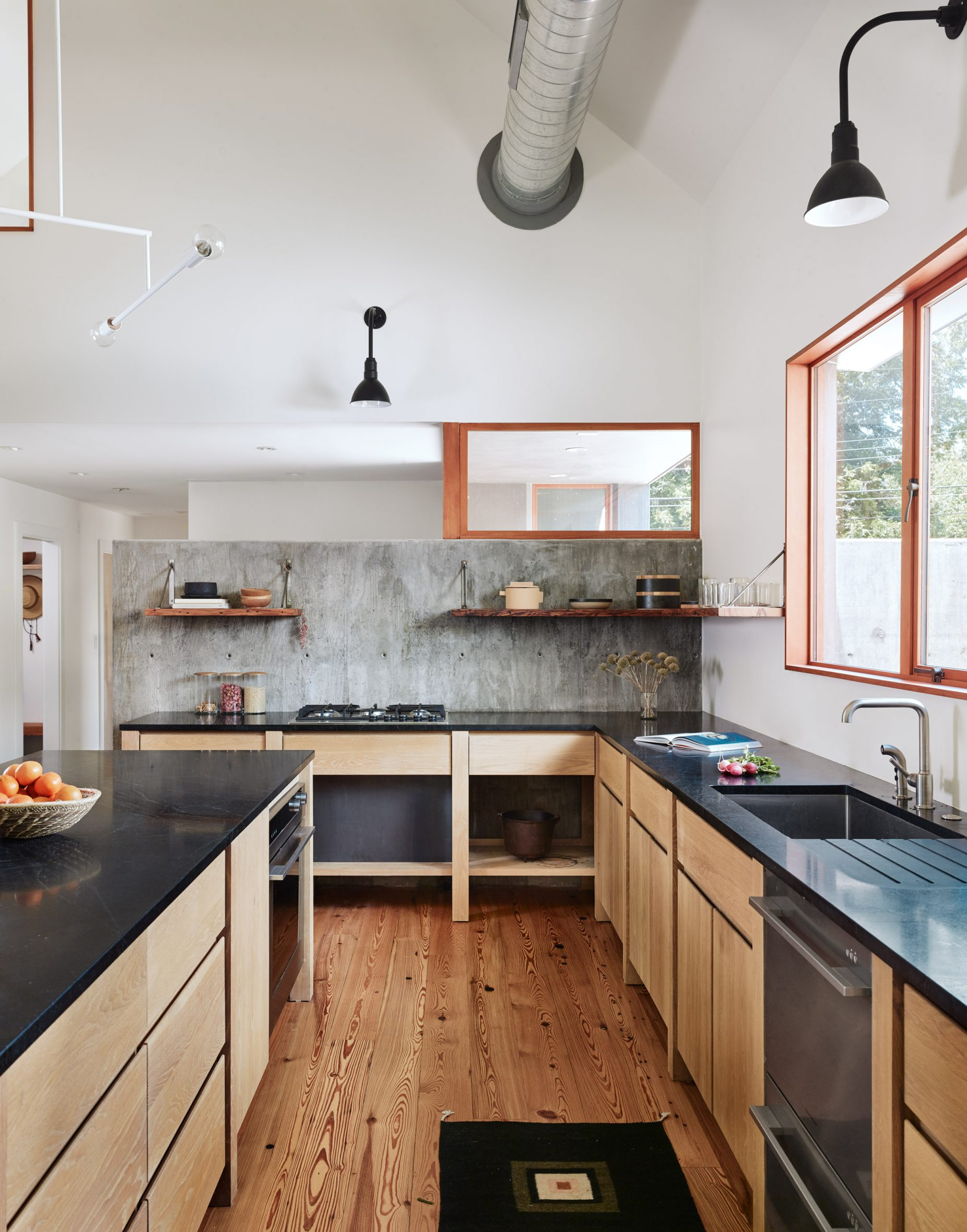 The kitchen is open-plan