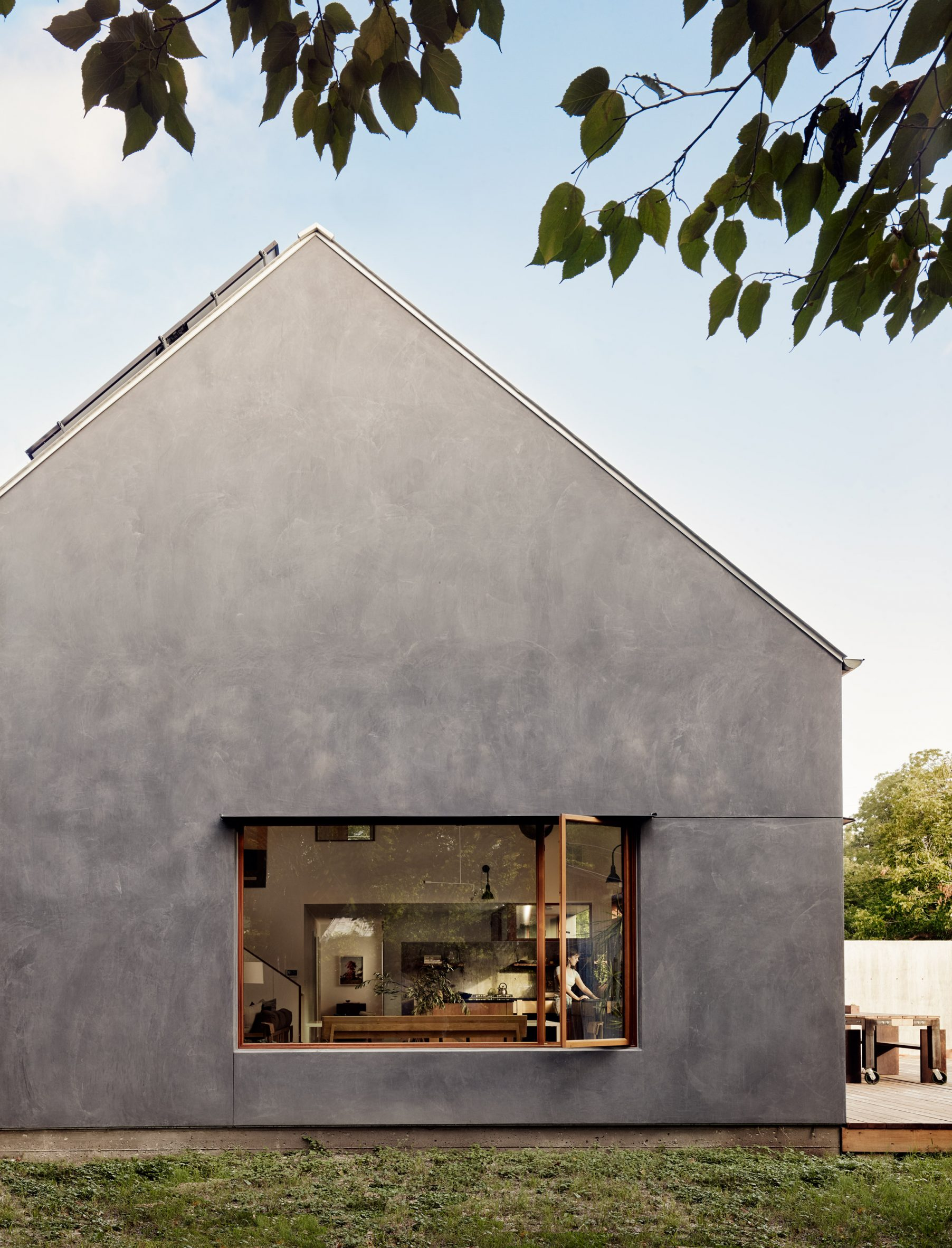 The home has a gabled roof