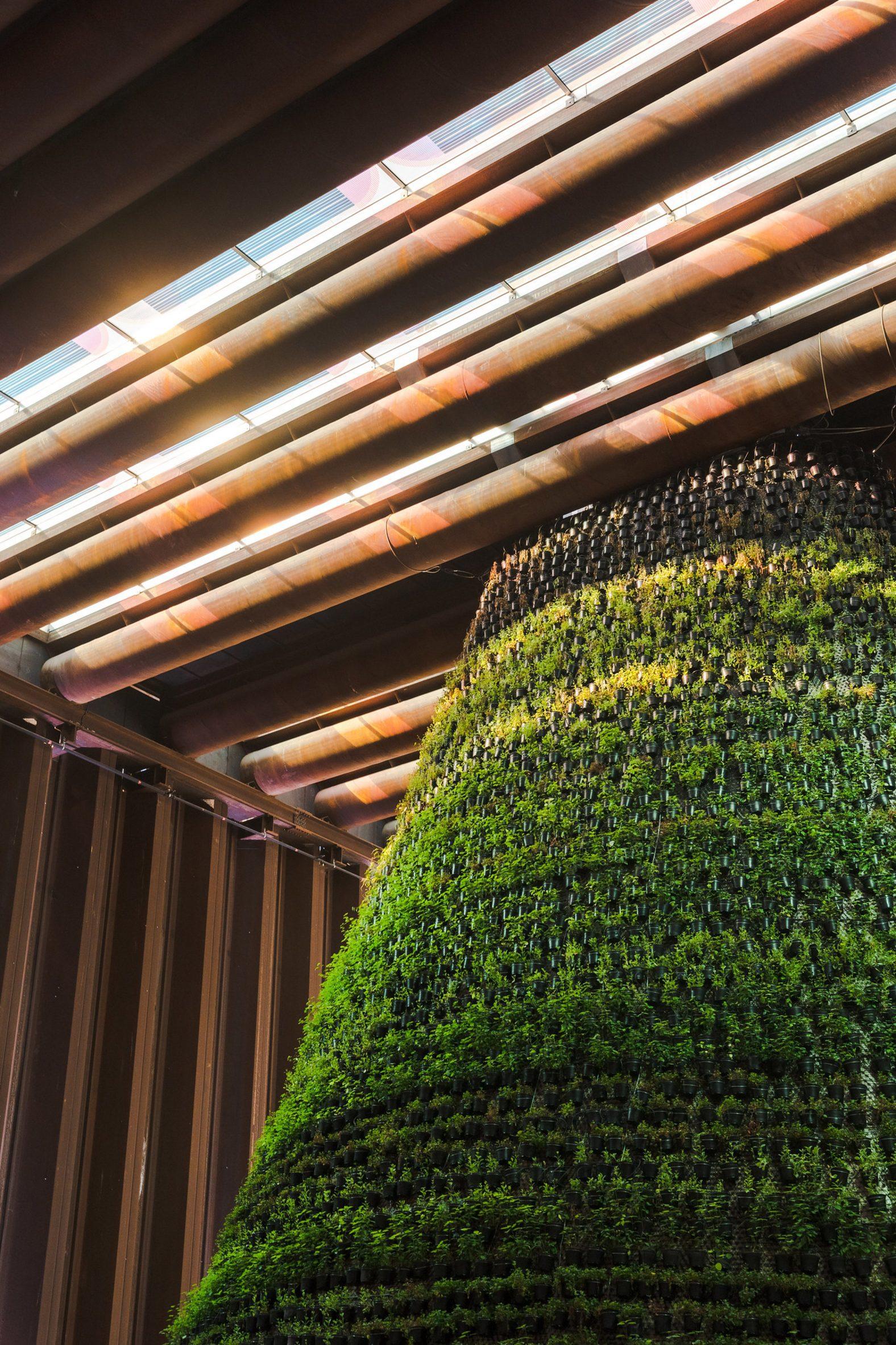 Sunlight falls through coloured solar panel skylight into the Dutch pavilion at Expo 2020 Dubai