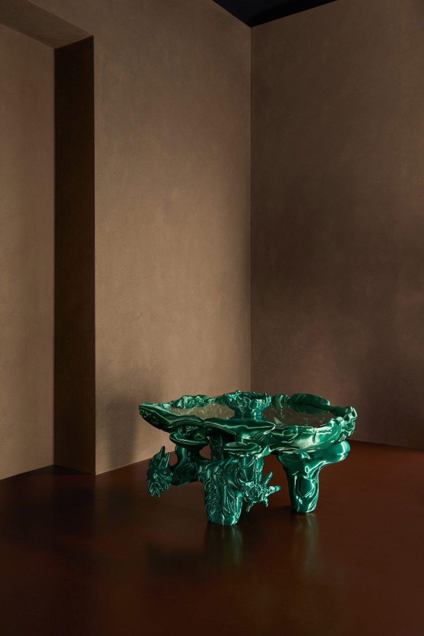 Green 3D-printed sculpture