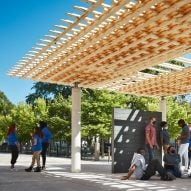SOM weaves small wood pieces into SPLAM pavilion at Chicago Architecture Biennial