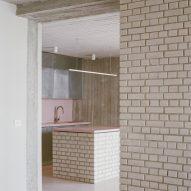 Kitchen with brick island