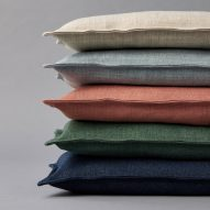 Cushions covered in neutral Sumi fabrics