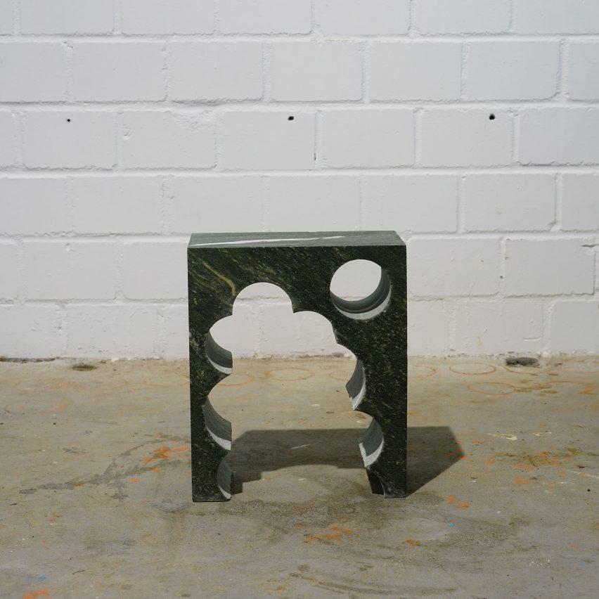 Anima Ona repurposes scrap gravestone for sculptural side tables