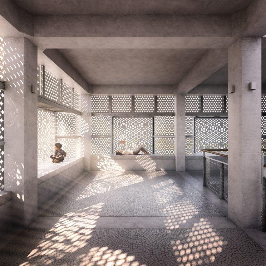 световые фильтры сквозь перфорированный фасад в «Титульном Третьем Пространстве: Хавели Любопытства»
