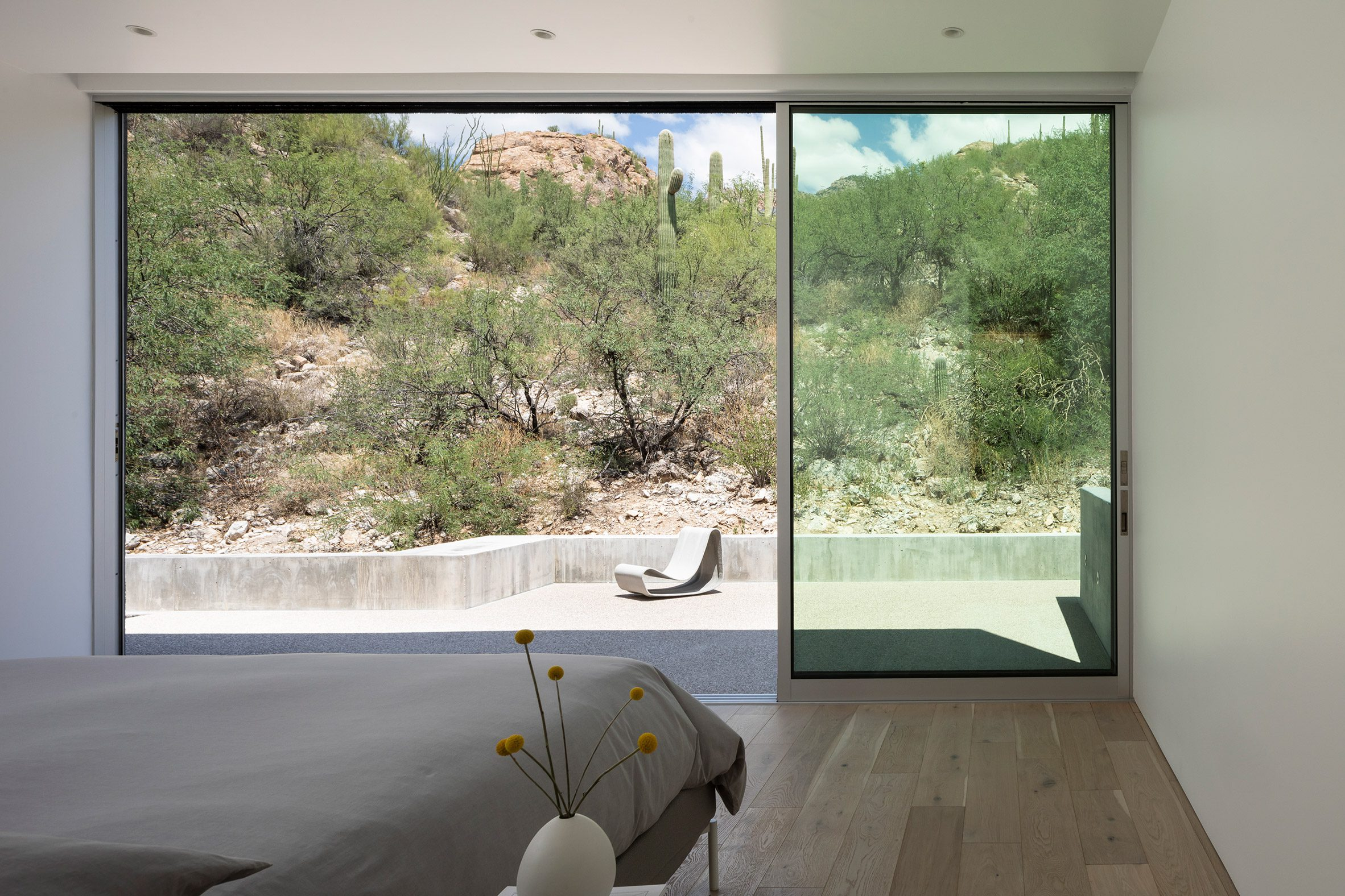 HK Associates added sliding doors to the bedroom