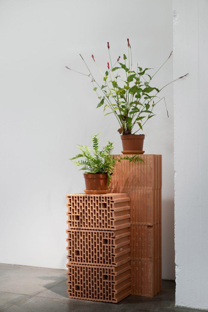 Растения на постаментах из красного кирпича