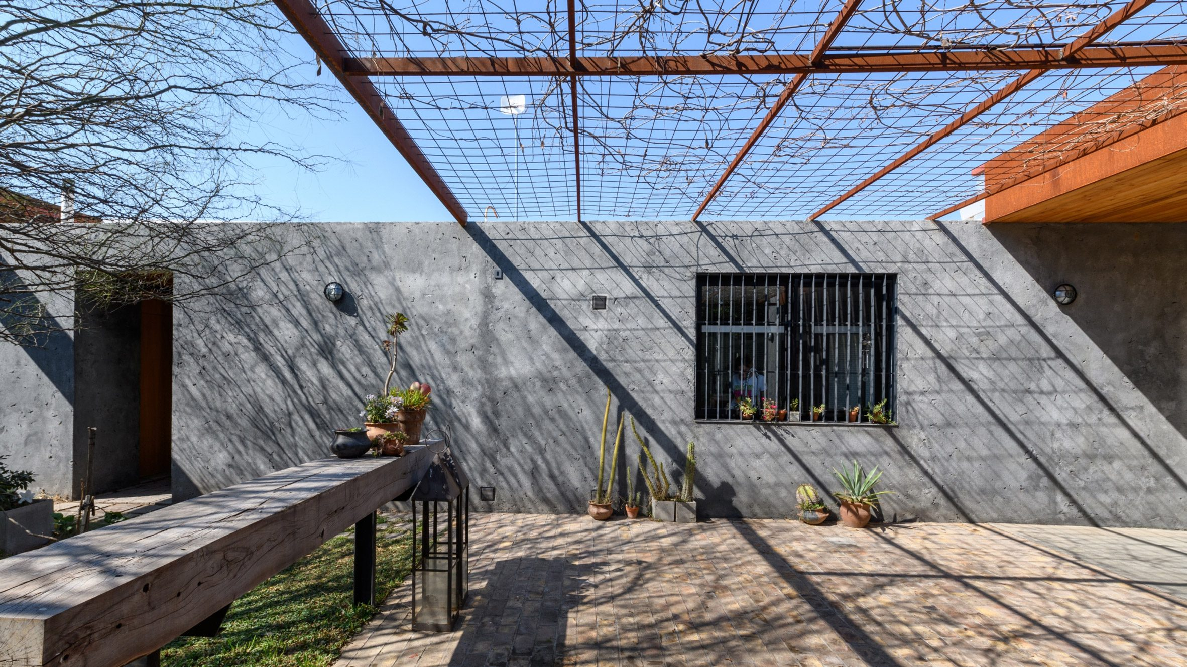 Patios between the concrete structures