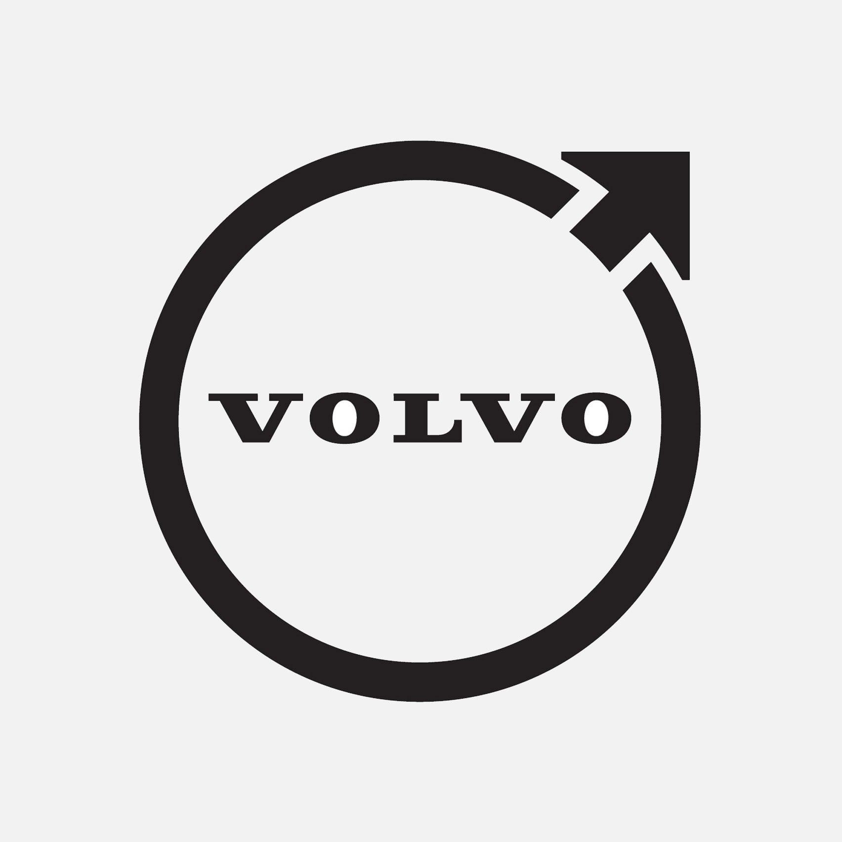 A black circular Volvo logo with an arrow