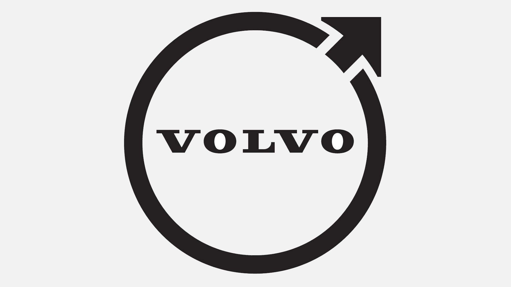 A black and white circular Volvo logo
