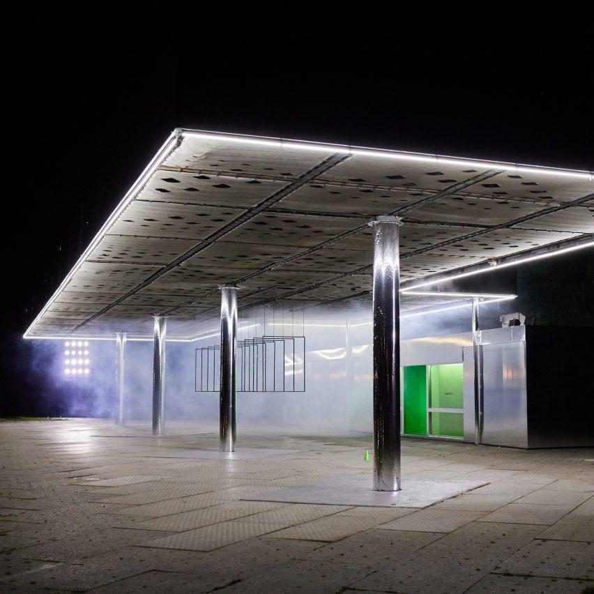 Wandler creates reflective installation at abandoned petrol station during Amsterdam Fashion Week
