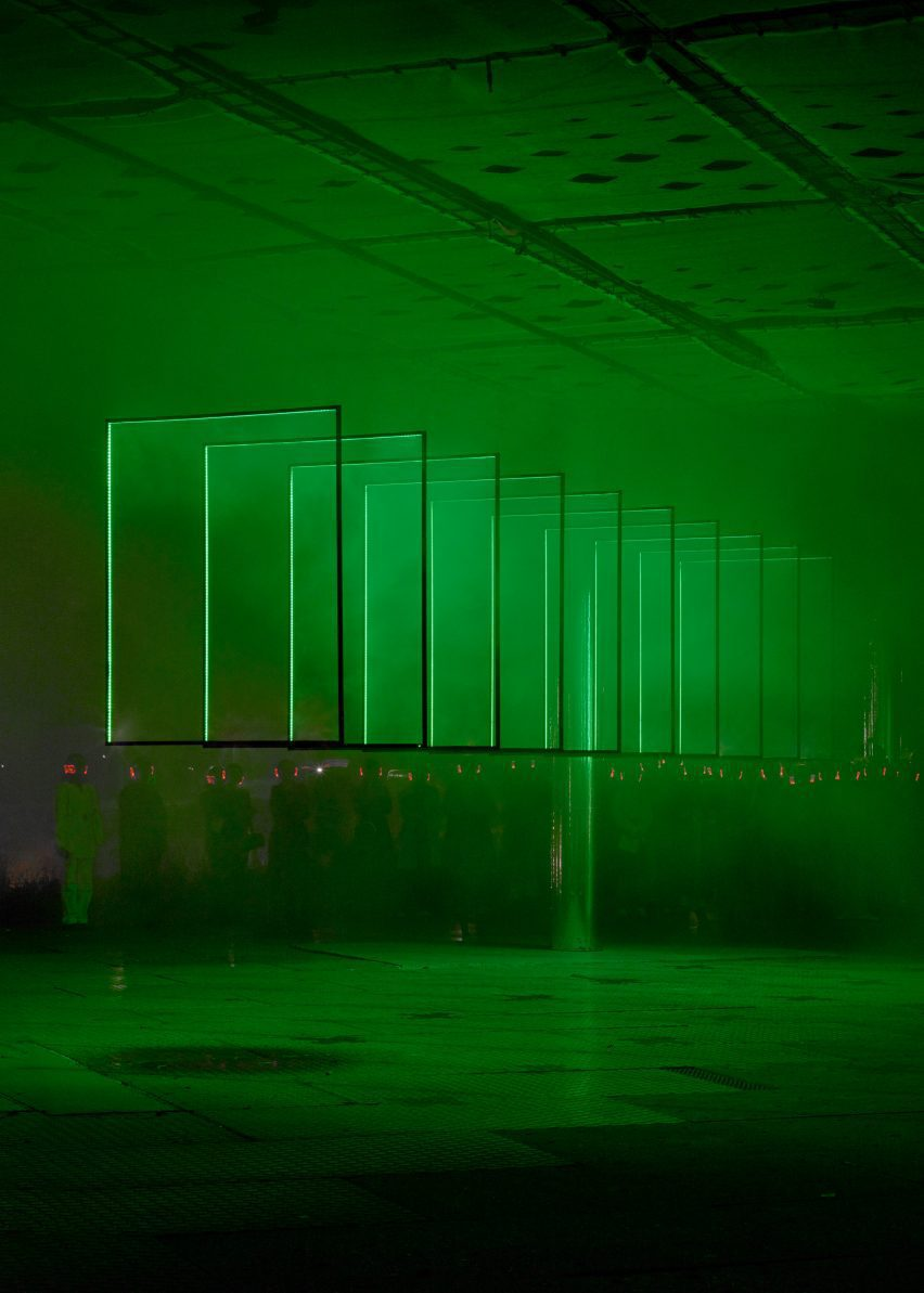 Neon green lighting was used throughout