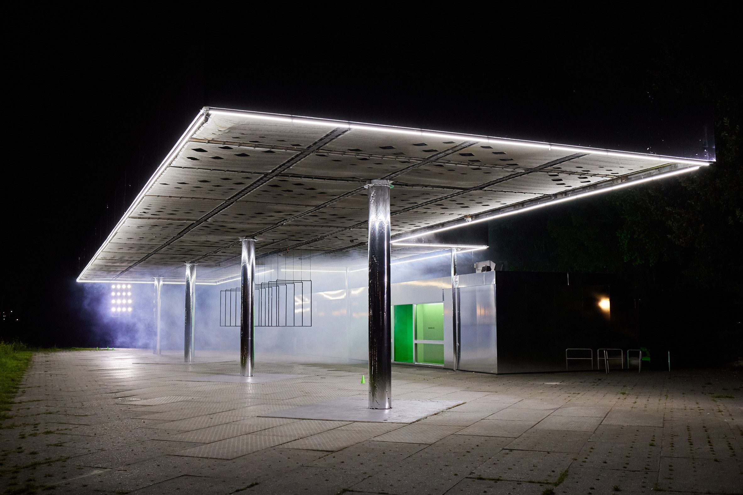 Wandler lit the structure with bright lighting