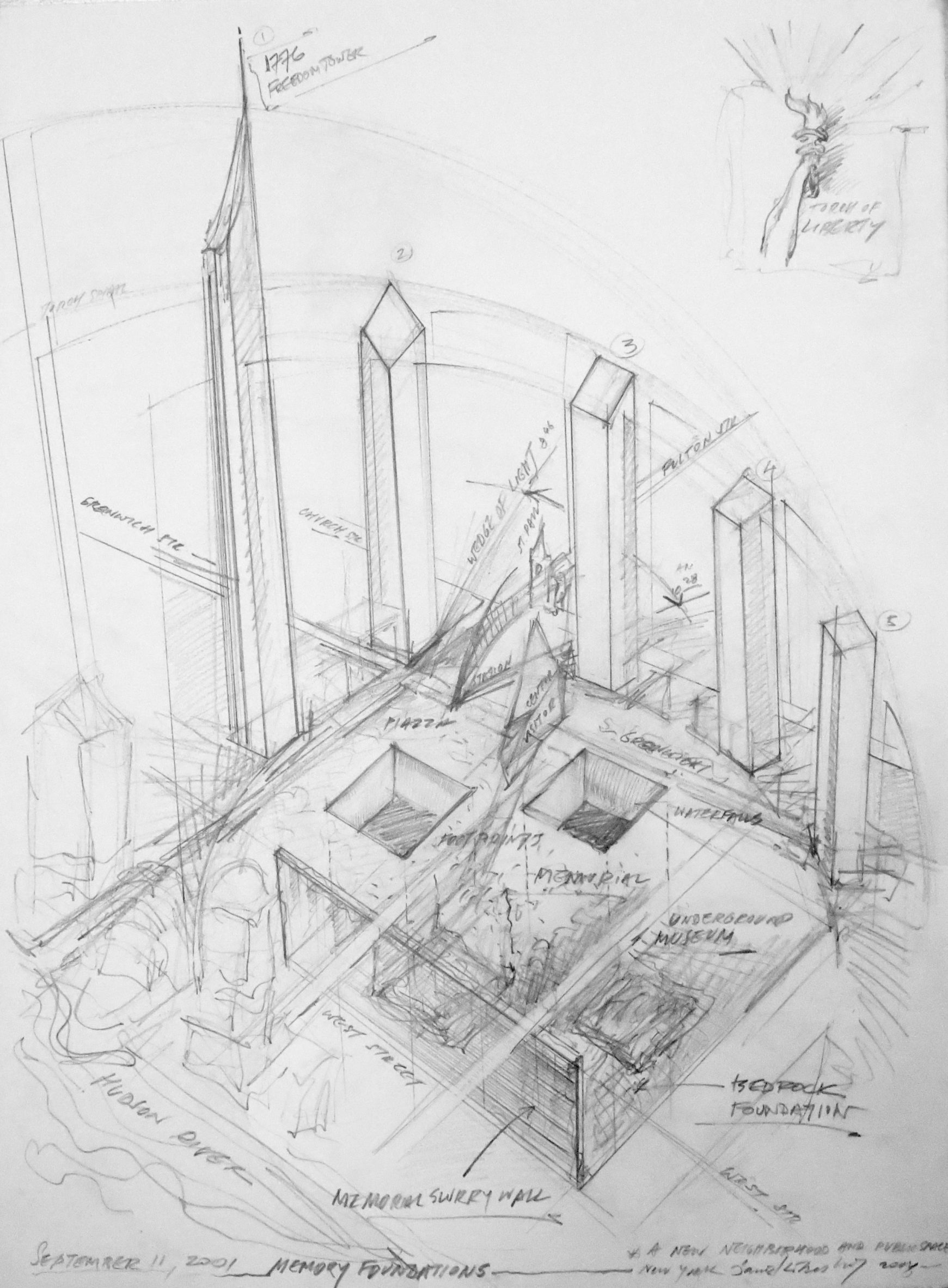 Sketch by Daniel Libeskind of World Trade Centre site masterplan