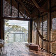 Woven screens cover cabin in Colombia by Santiago Pradilla + Zuloark
